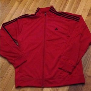 Red and black stripped full zip up